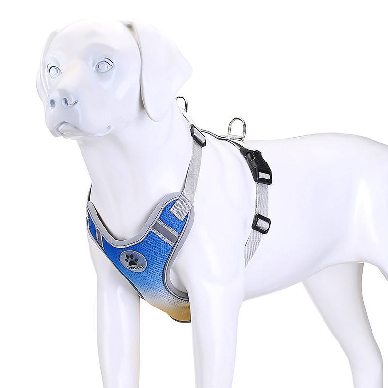 Pet Dog Harness Gradiente Dupla Camada de Dupla Respirável Cão Reflexivo Arnês Arnês Coleiras de Cães Média Cães Pequenos Cães Suprimentos