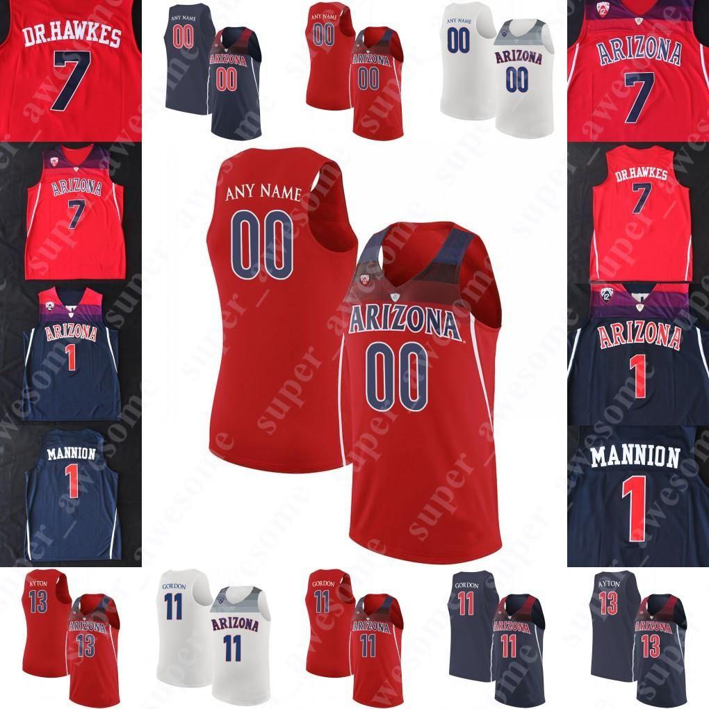 NCAA Arizona Wildcats Basketbol Forması 22 Zeke NNaji 1 Nico Mannion 0 Josh Green 3 Dylan Smith 13 Taş Gettings 4 Chase Jeter Max Hazzard
