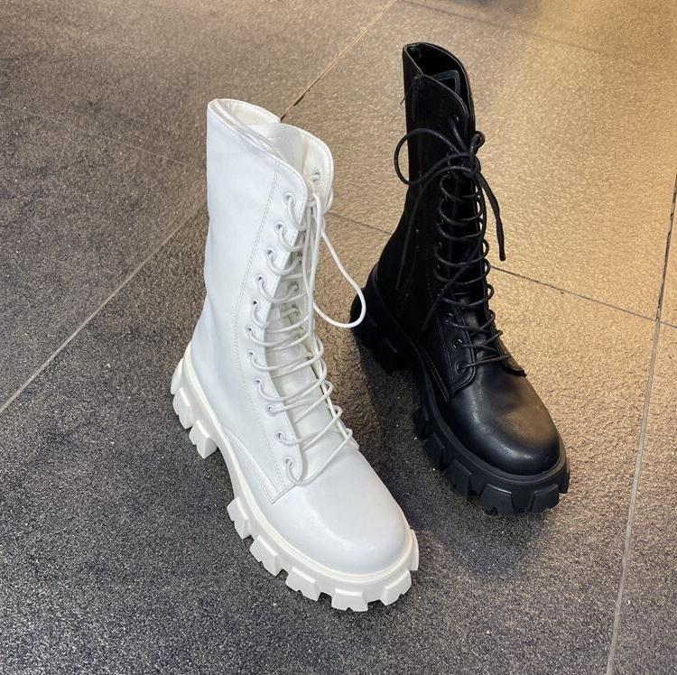 women boots winter snow booties black white Thick bottom Motorcycle womens short lace boot leather shoes size 35-40