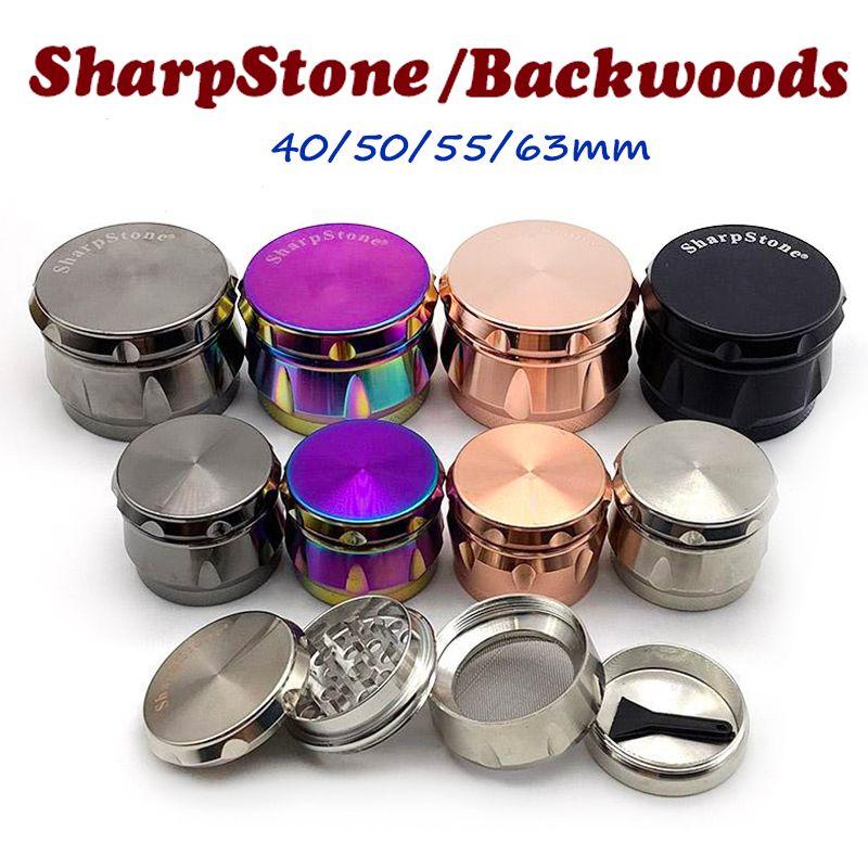 Backwoods Öğütücü Sharpstone Herb Öğütücü 4 Katmanlar 40/50/55 / 63mm Metal Çinko Alaşım Tütün Kırıcı Kuru Bitkisel Öğütücüler OEM Logosu