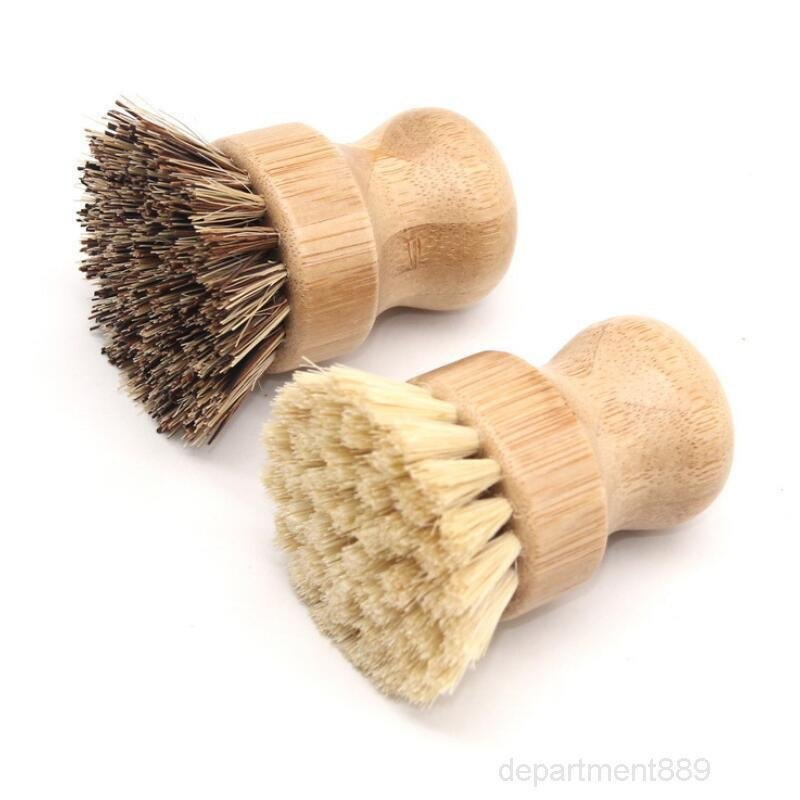 Handheld Wooden Round Handle Pot Brush Sisal Palm Dish Bowl Pan Brushes Kitchen Chores Rub Cleaning Tool OWA908