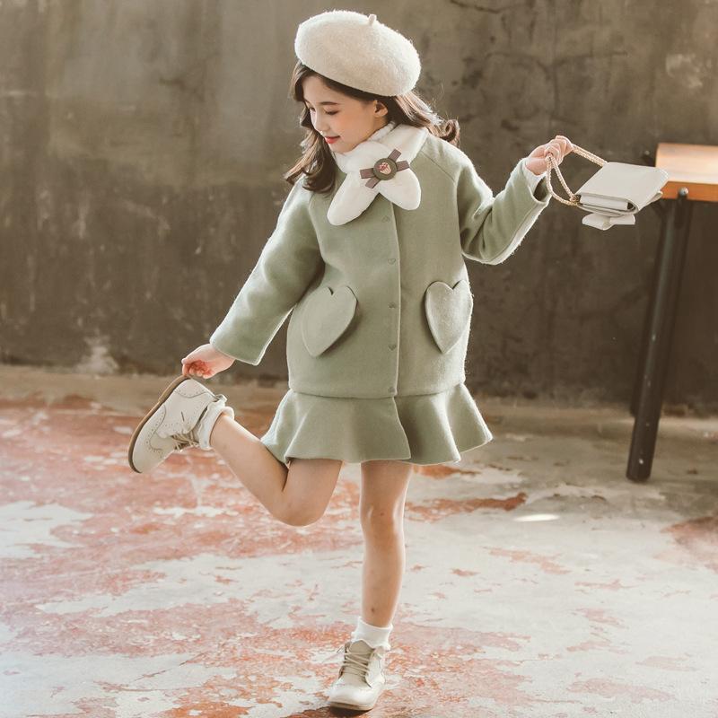 Дети девочка пальто зима новая мода шерстяное пальто для девочек подростки осенний куртку теплые длинные верхние одежды детей ветрозащитный 201110