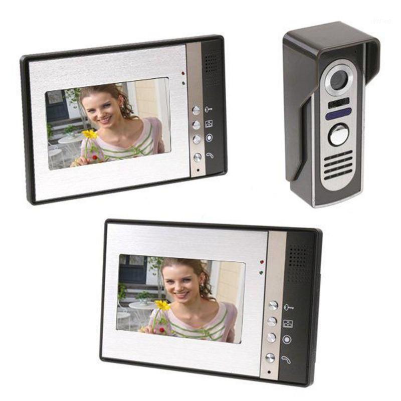 7 inç TFT 2 Monitörler Görüntülü Kapı Telefon Kapı Zili Interkom Kiti 1-Kamera IR-Cut HD 700TVL Camera1 ile 2-Monitör Gece Görüşü1