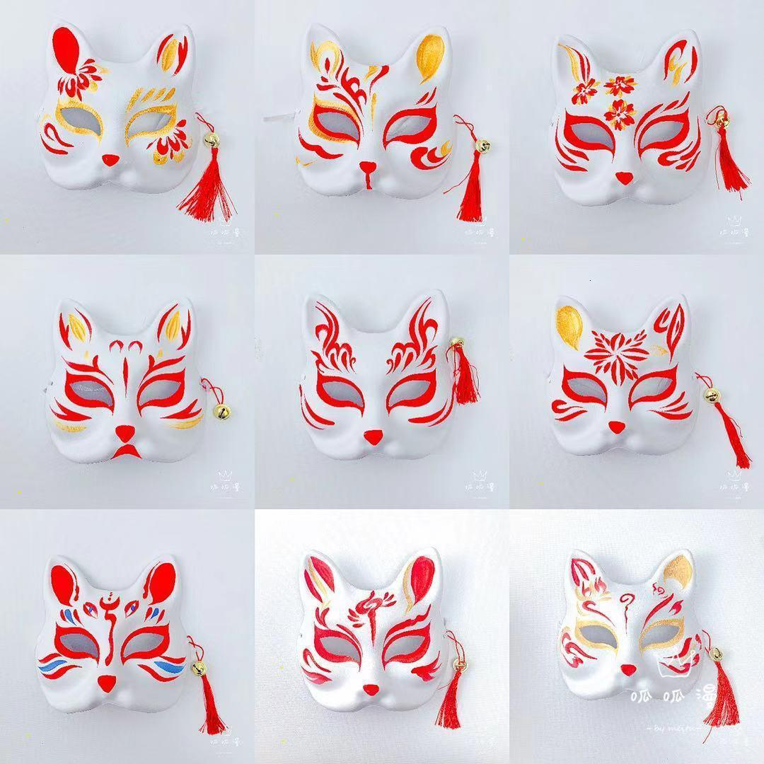 Painted Mask Hand Anime Fox Mask with Tassel Bell Independent Pp Bag