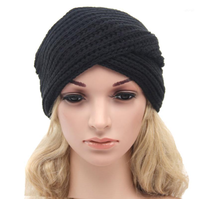 Donne Fashion Skulles Berryies 1pc croce all'uncinetto lavorato a maglia in lana cappello turbante inverno caldo cappelli testa wrap india cap bandanas1