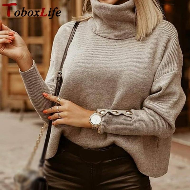 Mujeres de invierno Turtuelas suéteres más tamaño de moda sólido otoño jerseys suéter para mujer de punto ropa femenina Tops 2020 H1211