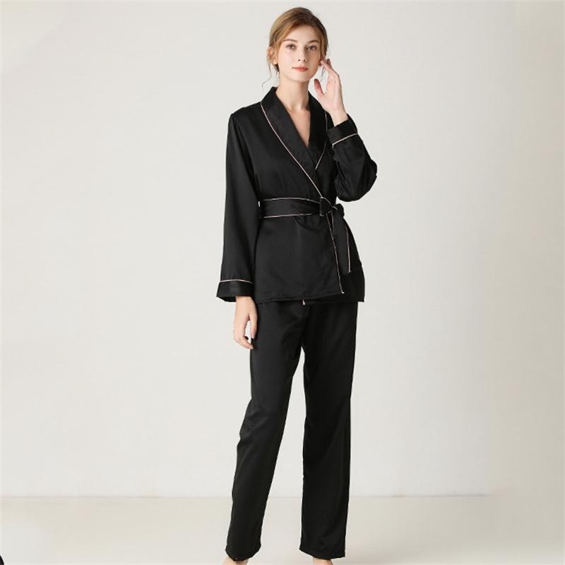 Женский шелковый рукав одежды с длинными брюками, высококачественные женские пижамы набор сплошного цвета кружева двух целых PJS женщин