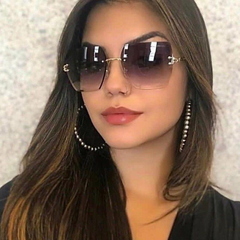 Luxo-Retro para Homens Femininos Quadros de Quadro Oculos Metal Clássico Marca Rimless Sun Óculos de Sol Unisex Gradient UV400 Sol Óculos Axvc