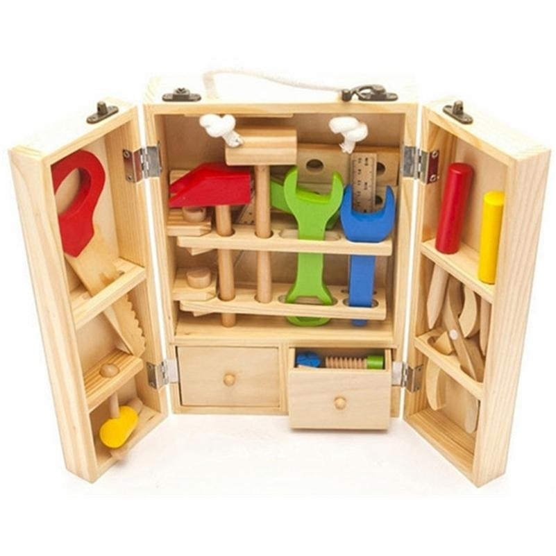 Baby wooden toy kids handle tool box games Learning Educational Wooden Tool Toy Screw assembly garden toys for children boy LJ201007