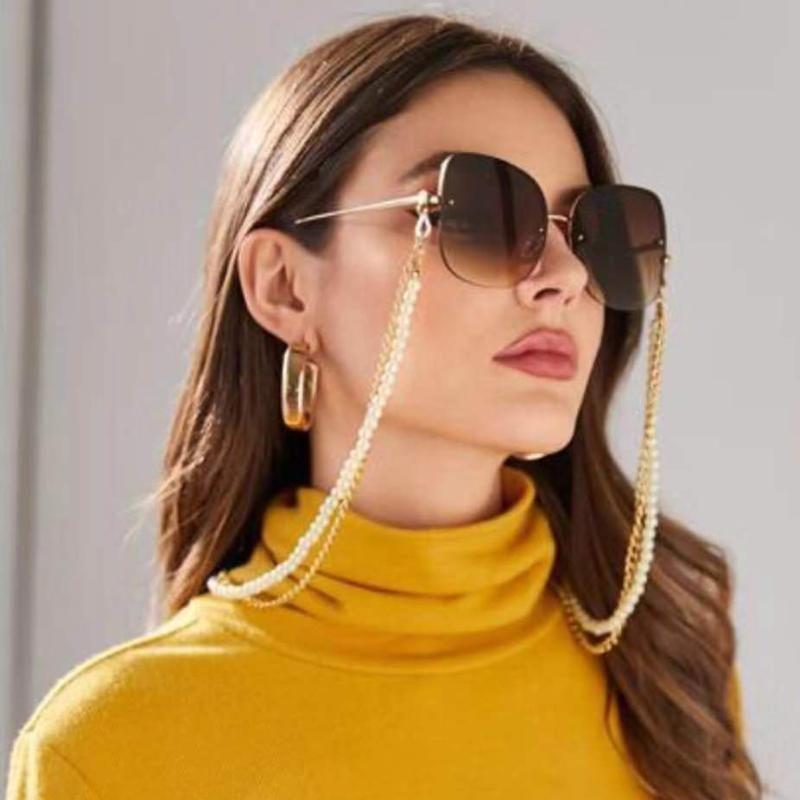 Cadenas 1pc Venta al por mayor Moda Caja de perlas Enlace Collar de cadena de cuello para máscara y anteojos Soporte de gafas de sol Cuerda de correa con lote de clip