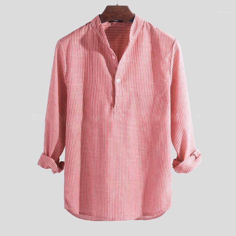 Camisas para hombres Camisas de algodón Tops Tops de color sólido Color de manga larga Soporte Botón de cuello retro Rayas Casual Blusa transpirable Male1