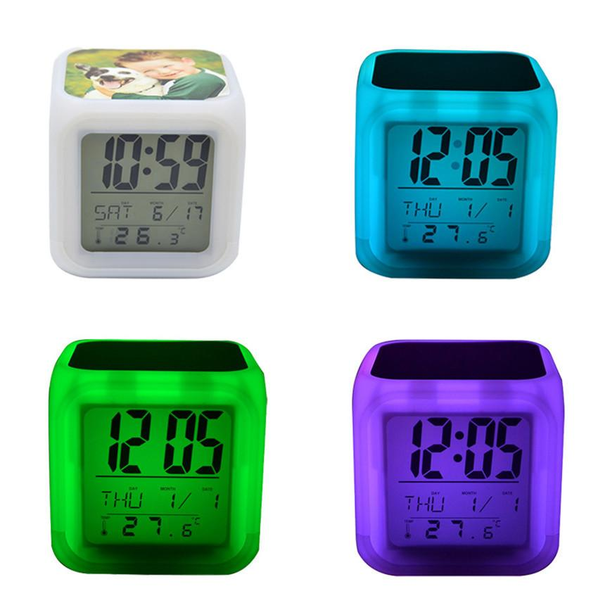 열 전사 광장 LED 터치 스크린 알람 시계 다채로운 빛나는 전자 색상 변경 번호 프롬프트 시계 밤 빛 HH12506