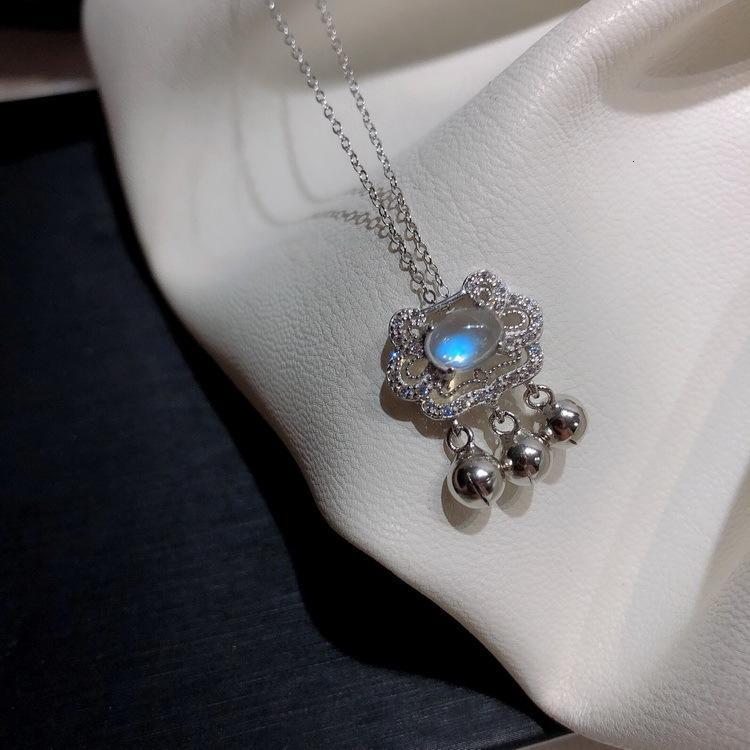925 серебристый финансовый Ping'an маленький колокольчик кулон синий лунный камень Ruyi Baoping длительный срок службы ожерелье браслет девушка