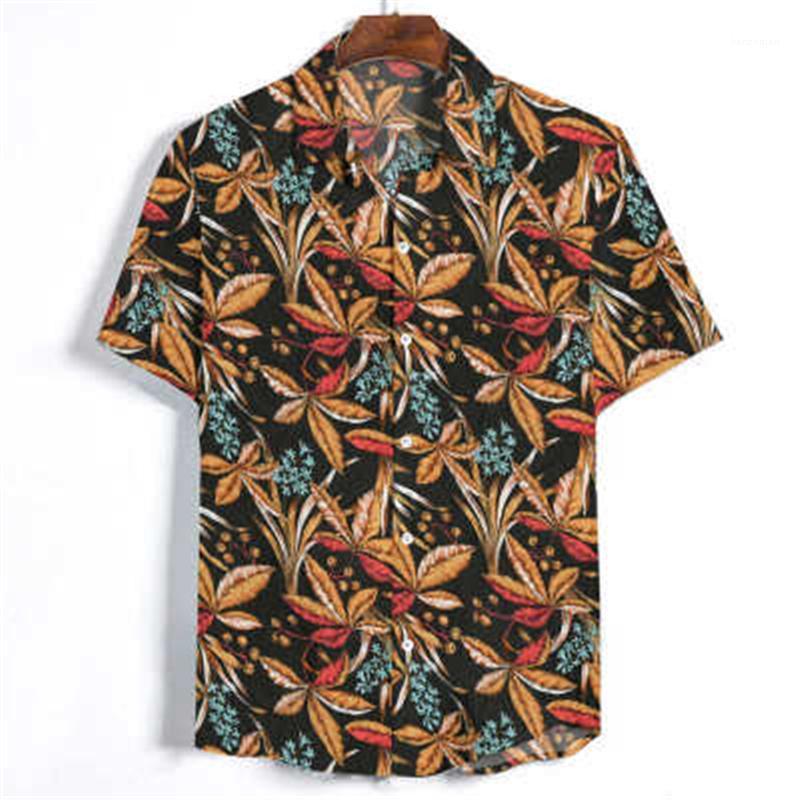 Camisetas de cuello de solapa de manga corta camisas de cuello de primavera nuevo bolsillo casual de bolsillo de una sola pechuga de pecho para hombre impresión floral camisas moda tendencia