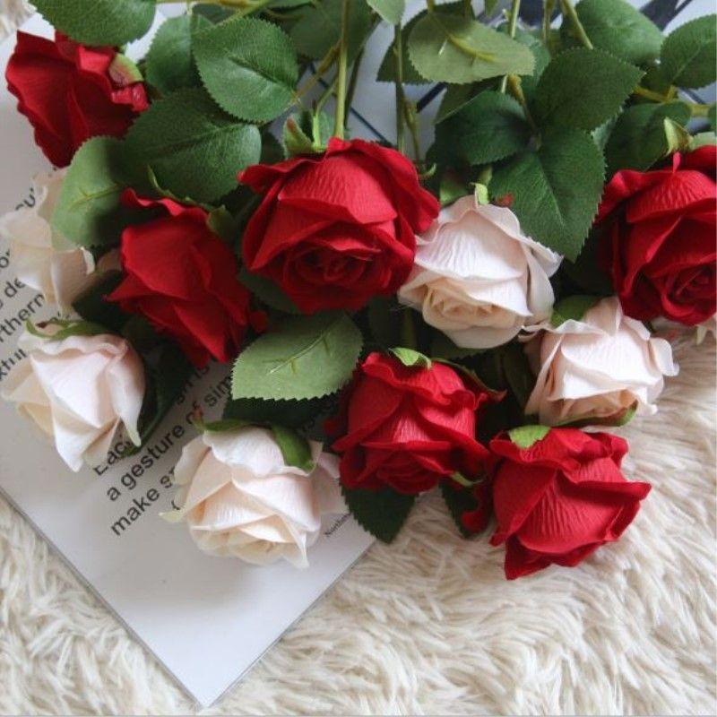 Grande Bouquet Rose Real Touch Rose Artificial Roses Flower 6cm Flower Head Flower Flower per decorazioni di nozze Decorazione della casa Accessori