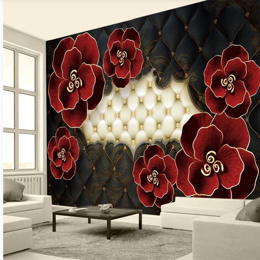 3d комнаты обои Трехмерный тисненая кожа цветок обои европейского стиль современных обоям для гостиной