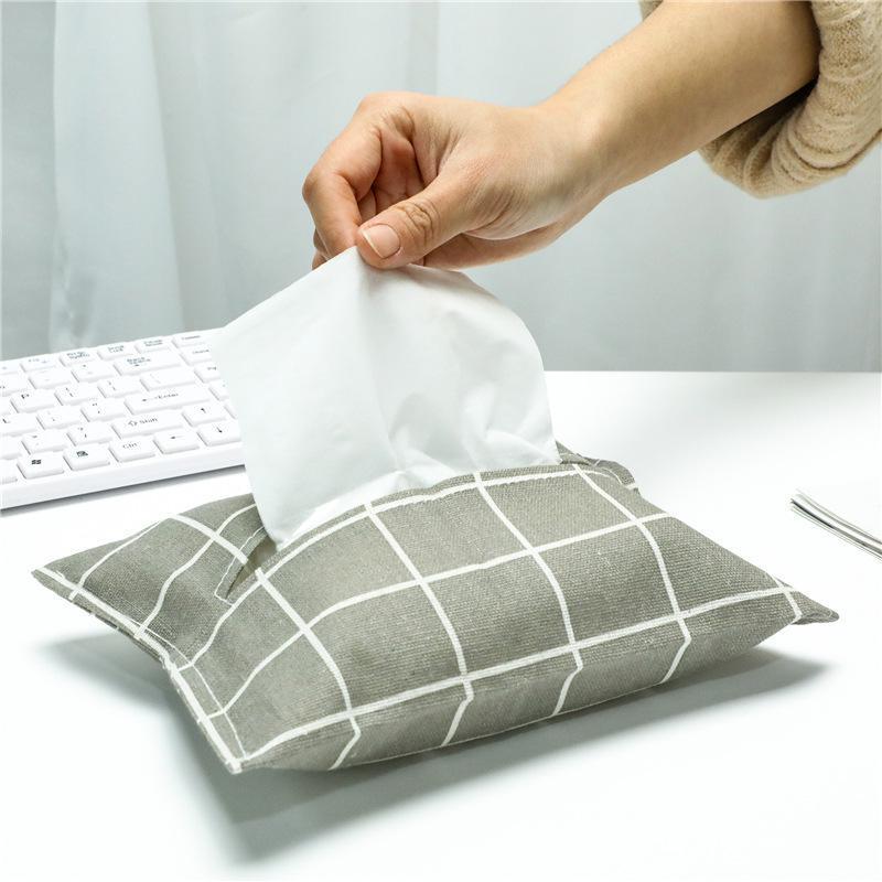 Boîtes de mouchoirs de toilette Tissu Tissu Coton et Linge de lin Couvre-sac Simple Hipster Box Restaurant Salon Salon Papier