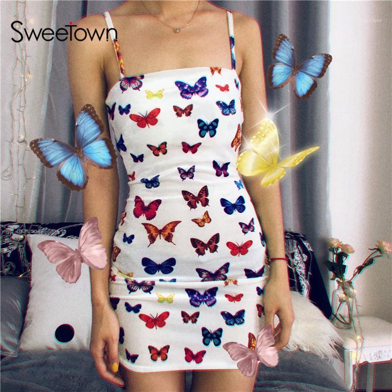 Doesoown colorato farfalla stampato carino estate spiaggia abito da spiaggia donne regolabili spaghetti cinturino vestiti donna party notte harajuku1