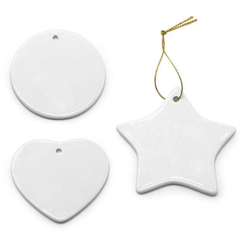 Em branco Branco Sublimação Cerâmica Pingente Creative Christmas Ornamentos Transferência de Calor Impressão DIY DIY Ornamento Cerâmico Decoração de Natal W58