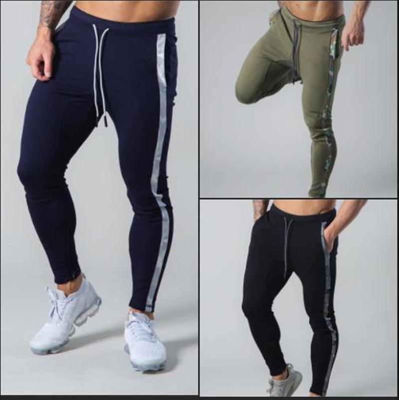 Pantalon Hommes Outono Novo Esporte Casual Bottoms Marca Ginásio Calças de Treinamento Fitness Musculação Dos Homens Finas Com Cordão