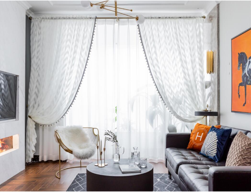 Nordic geometric wave pattern light luxury window Sheer Curtains ins shading living room bedroom simple white gauze curtain