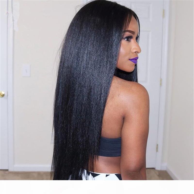 Malezya Virgin İnsan Saç Tam Dantel Peruk Işık Yaki Düz Tutkalsız Dantel Ön İnsan Saç Peruk Siyah Kadınlar Için