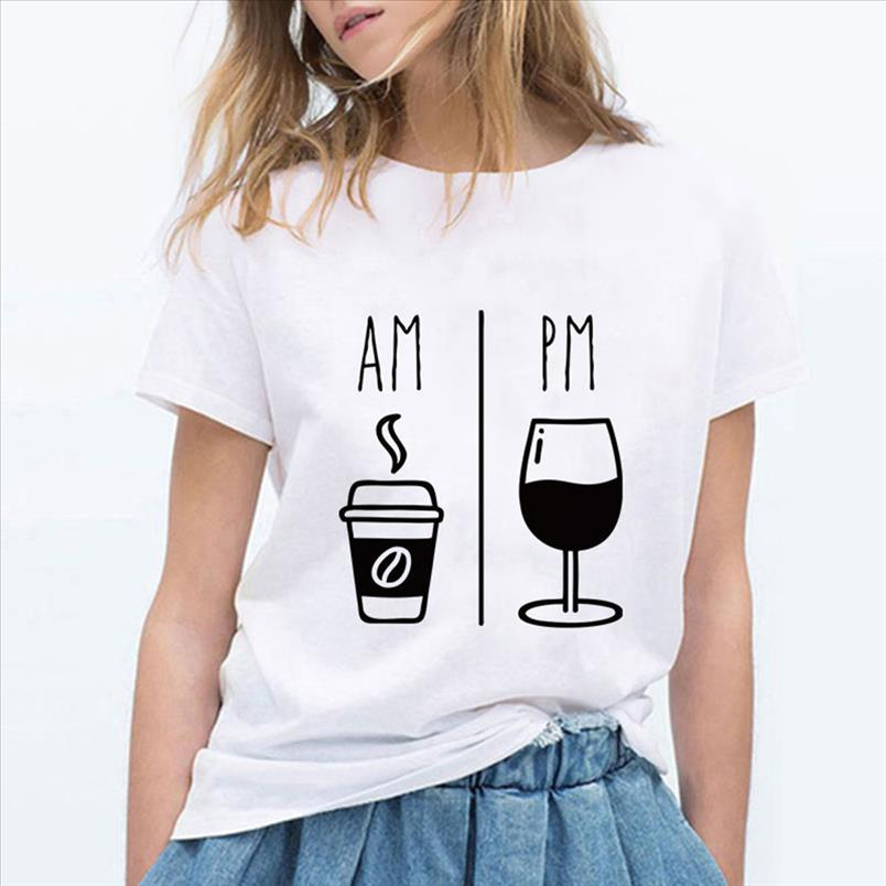 Moda de Alta Qualidade Am Impressão de Vinho Tinto Camisetas Mulheres Fashion Harajuku Na Moda Tshirt Loose Gym Loose Ropa Mujer