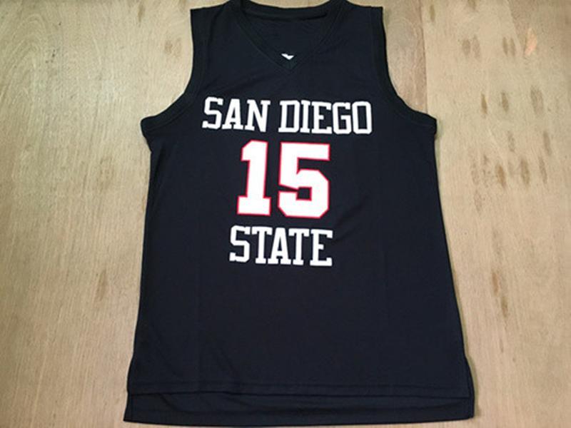 Yeni Erkekler Ucuz Basketbol Formaları 15 Kawhi Leonard Siyah San Diego Eyalet Kolej Forması Dikişli Gömlek Boyutu S-XXL