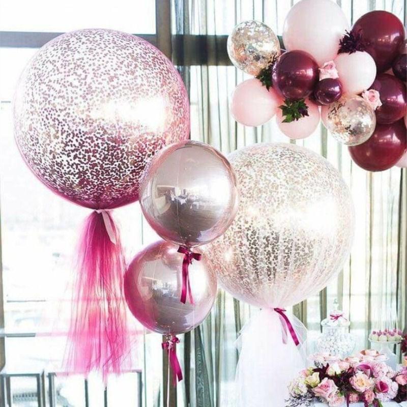 Parti Dekorasyon Kuchang 1 ADET 18 Inç Konfeti Balonlar Hava Topları Tatil Sevgililer Günü Kutlama Düğün Doğum Günü DIY