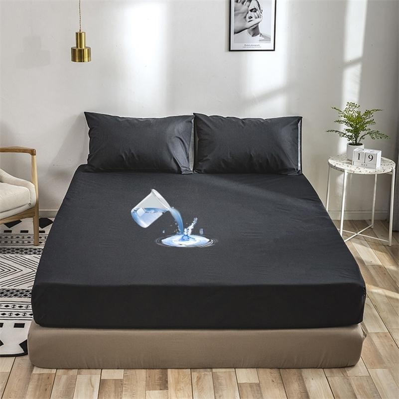 Yatak Koruyucu Kapak Su Geçirmez Anti Mite Katı Gömme Sac Koruma Kadınlar için Yetişkin Çocuklar Çocuk Yatak Çarşafları ile Elastik 201218