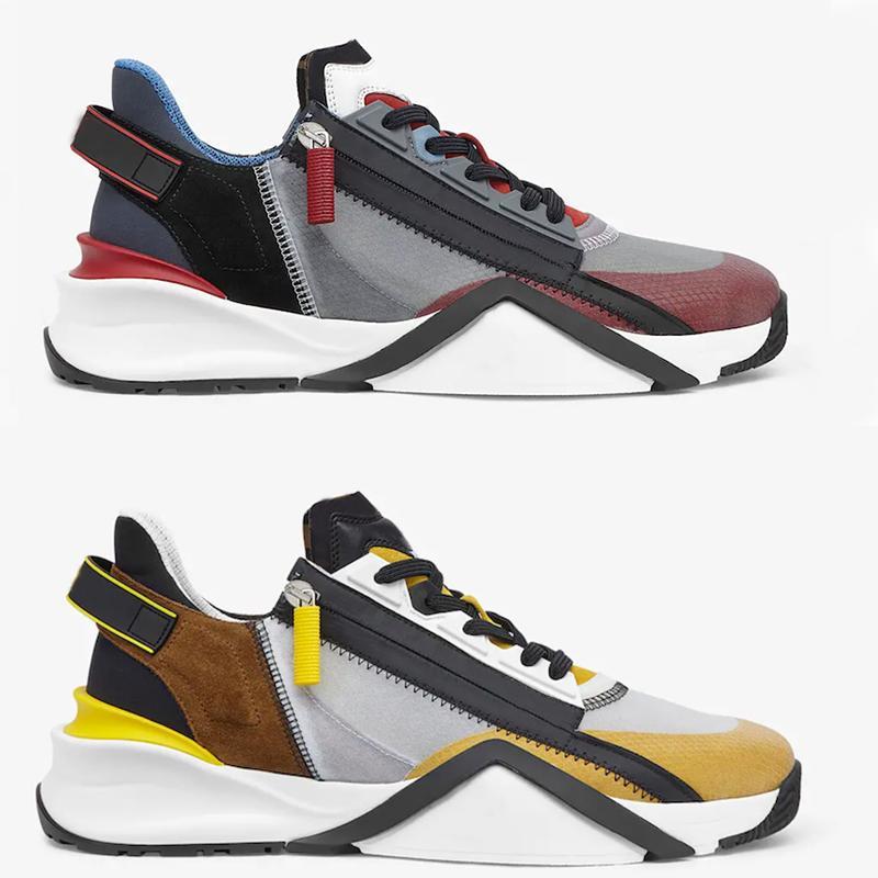 الرجال تدفق أحذية رياضية مصمم أحذية نسائية نايلون عداء المدربين أعلى جلد الغزال المنخفضة قطع الأحذية أسود أبيض الانزلاق على حذاء عارضة 259