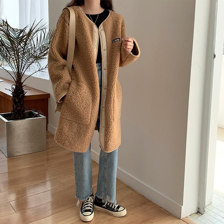 Cardigan de laine d'agneau pour femmes 2020 Automne et hiver Chic simple col rond rond coton cotto épaissie