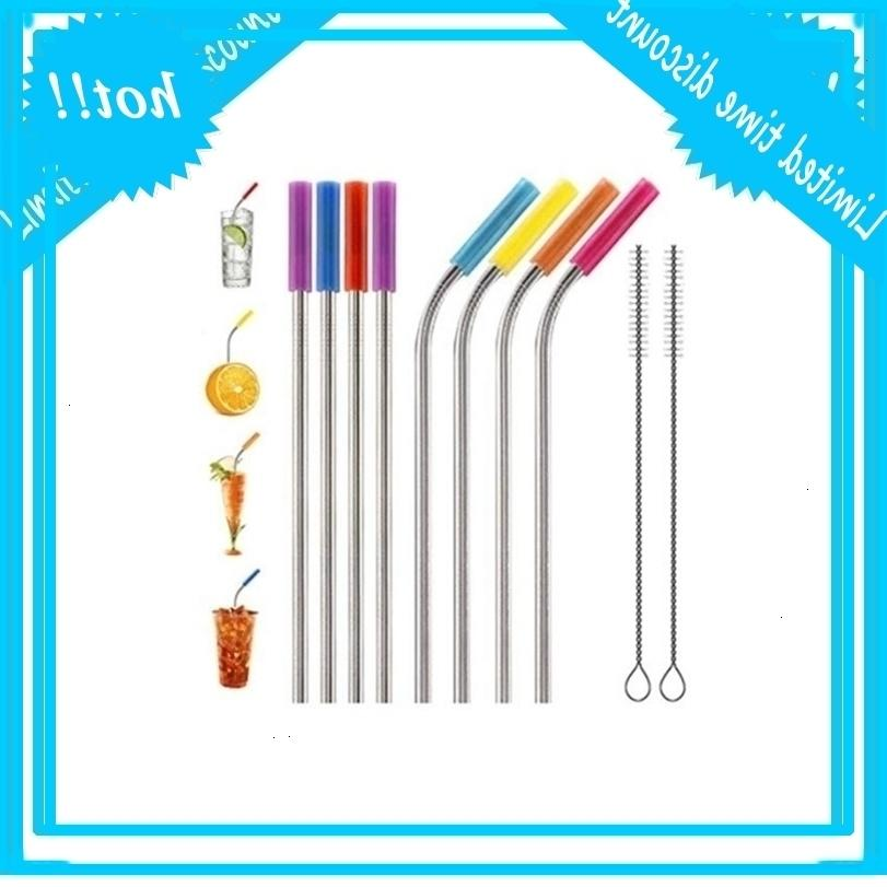 Stainless Steel Reusable Straws Metal Drinking Straw Bar Drinks Party wine Accessories Straight&Bent style DH0118