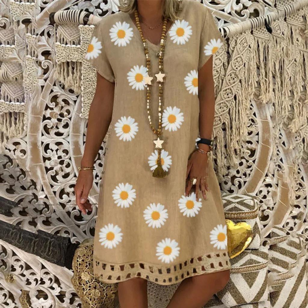 # H40 impressão de girassol de algodão amd mini vestido mulheres vestido de verão vintage casual solto v-pescoço floral manga curta vestido de festa