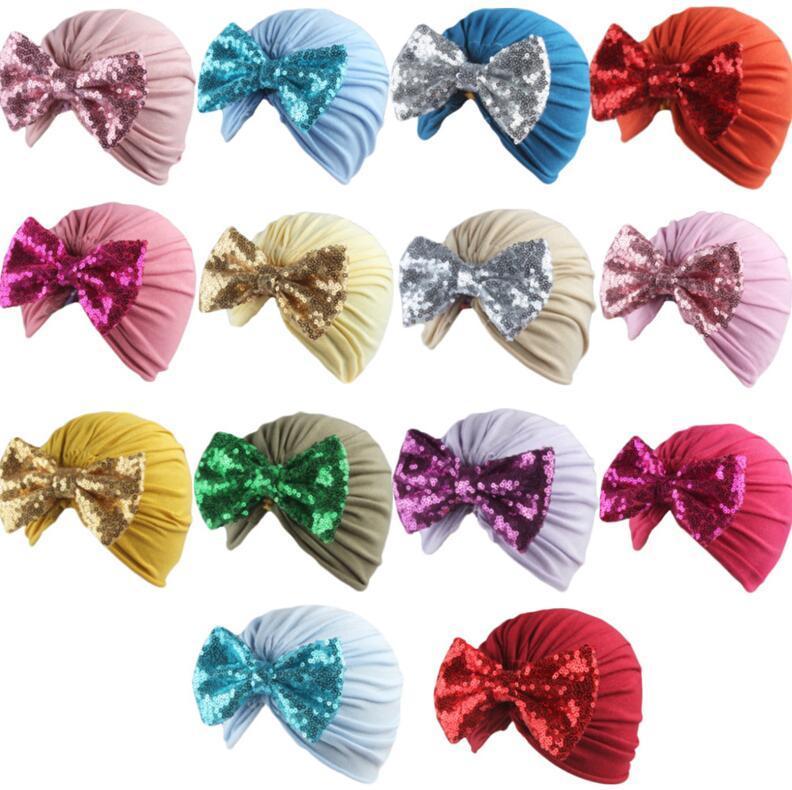 Kids Girls Boys Bowknot Turban Hats Glitter Bows Elastic Headband Infant Baby Headwrap Beanies Caps Hair Band Headwear Accessories G10506