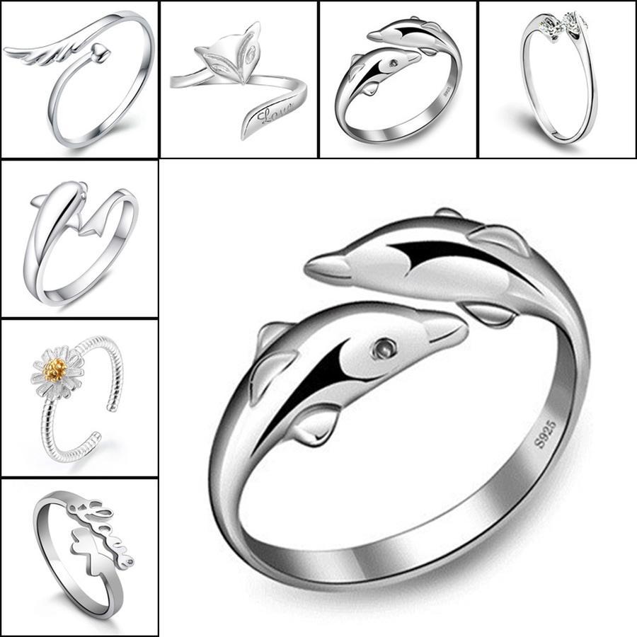 Regalo anillos de plata cristalinas corona delfines libélula ángel ala fox corazón anillo de dedo ajustable mujer joyería de boda joyería