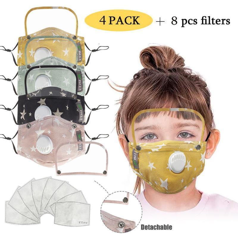 4 шт. Мода респиратор Детская лицевая маска для зародышей Защита с 8 фильтрами Хлопковый рот лицо Maskshashable и многоразовая маска