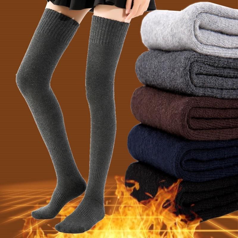 Зима теплый хлопок толстые женские чулки вскользь повседневная бедра над высокими носками девушки женские женские длинные колена носок