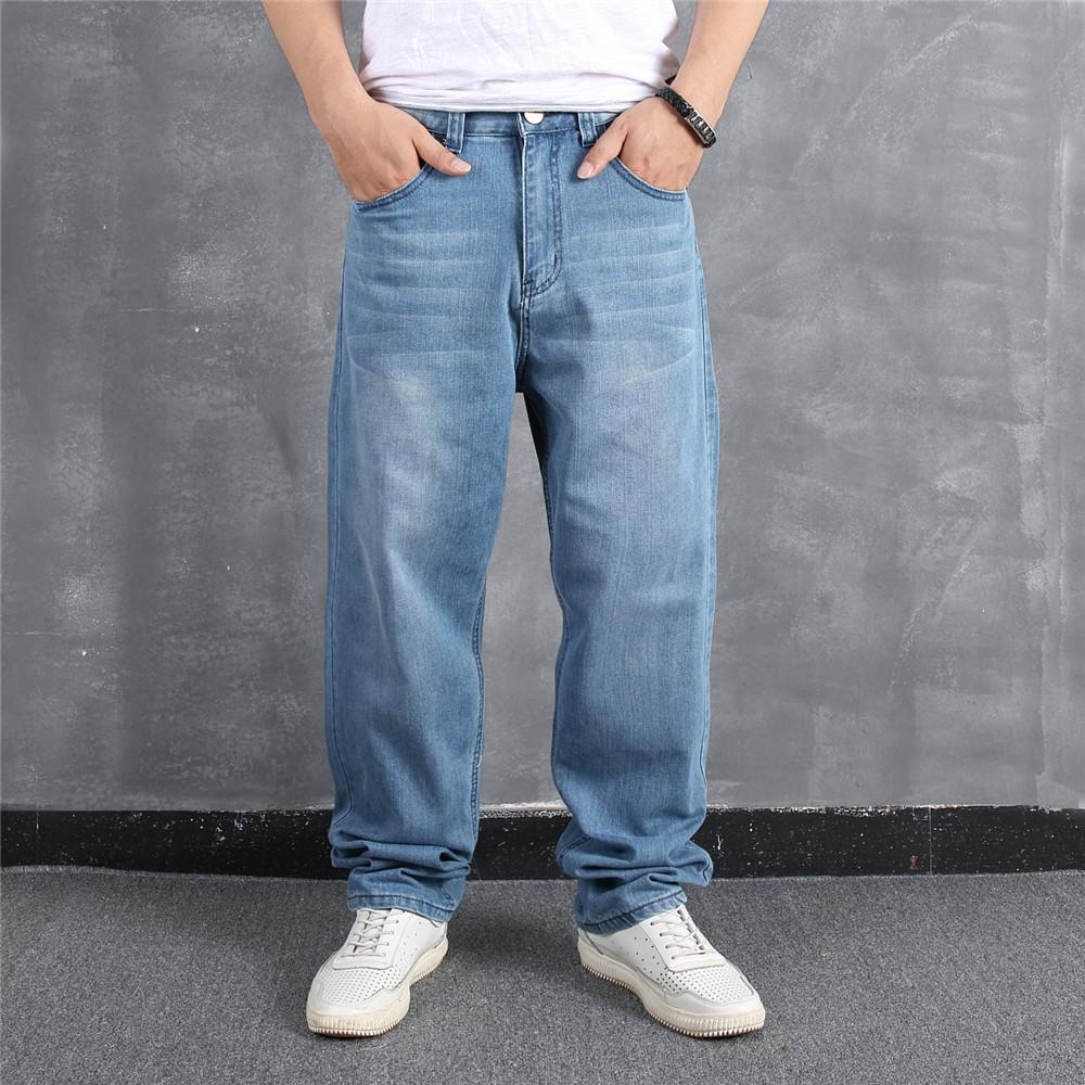 Pantalones de hombre azul claro Tamaño Bolso Hip Hop Hop Patinaje suelto Denim Jean Planchas Streetwear Solid Solid Jeans para hombres