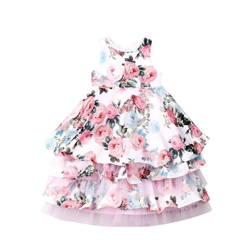 3-8years Toddler Kid Girls Flower Dress Ruffles Tulle Lace Party Wedding Birthday Tutu Dresses For Girls Child sqcHyM