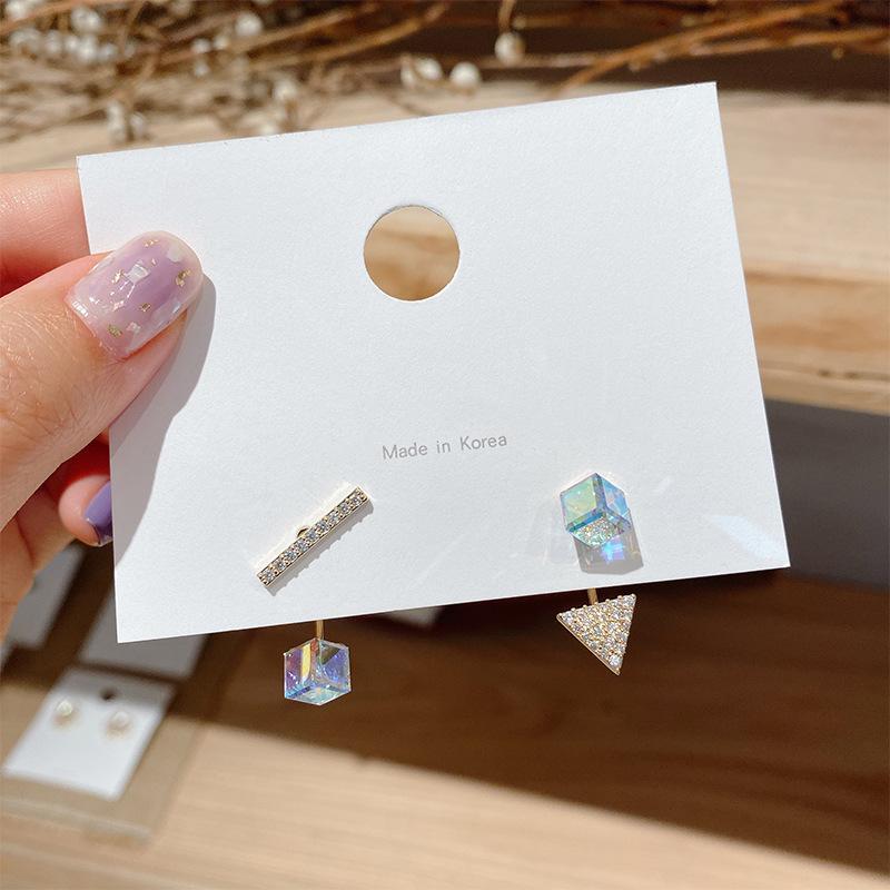 2020 Arrivée Zeojrlly Cristal Hyperbole Géométrique Femmes Géométriques Boucles d'oreilles Coréen Un Cristal carré Bijoux asymétriques