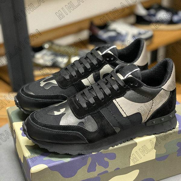 Herren Camouflage Wildleder Rivet Schuhe Frauen Luxurys Designer Männer Sneakers Runner Trainer Designer Wohnungen Freizeitschuhe