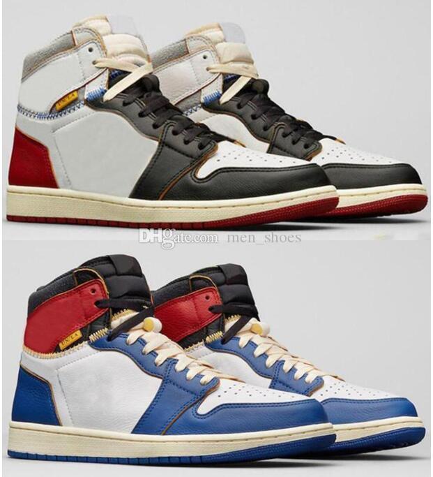 Yüksek Kaliteli UN LAX 1 Yüksek OG Siyah Ayak Mavi Kırmızı Basketbol Ayakkabıları Erkek Kadın 1s Sneakers ile Kutusu