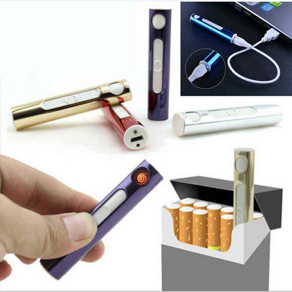USB Şarj Edilebilir Elektronik Çakmak Isıtıcılar Alevsiz Ince Rüzgar Geçirmez Metal Kabuk Cihazı Çakmak Sigara Mini Şarj Arc Elektrikli Isı