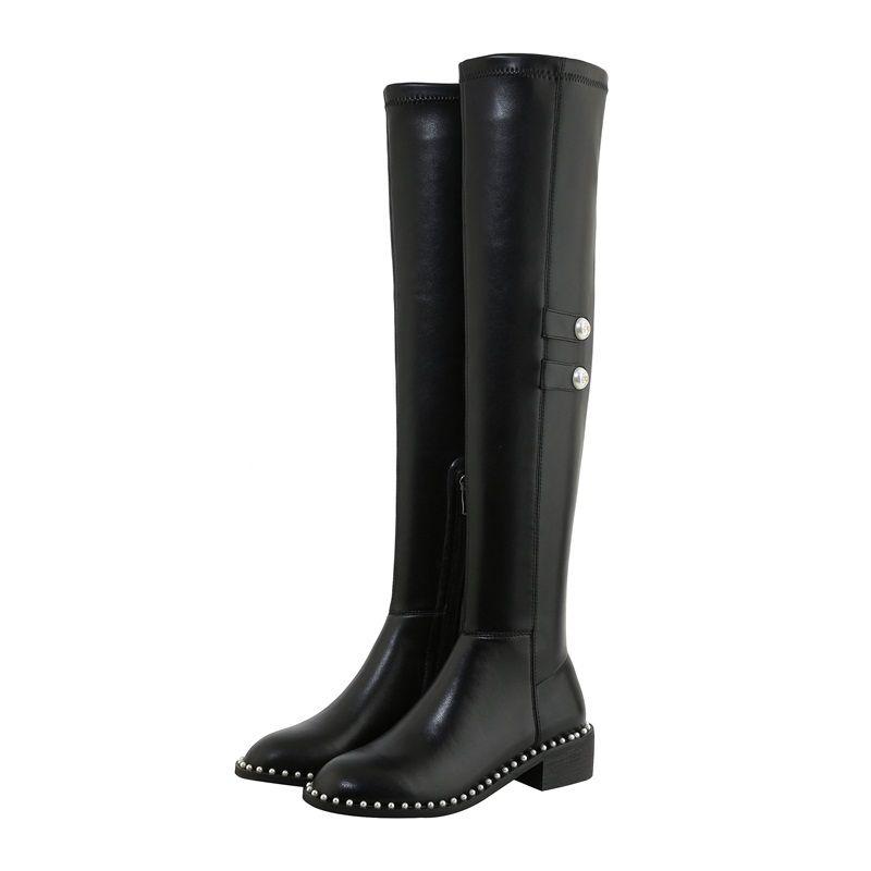 2021 Diz-Boot-High Hakiki Deri + Siyah Mikroibre Streç Uzun Çizmeler 34-43 GP8Y