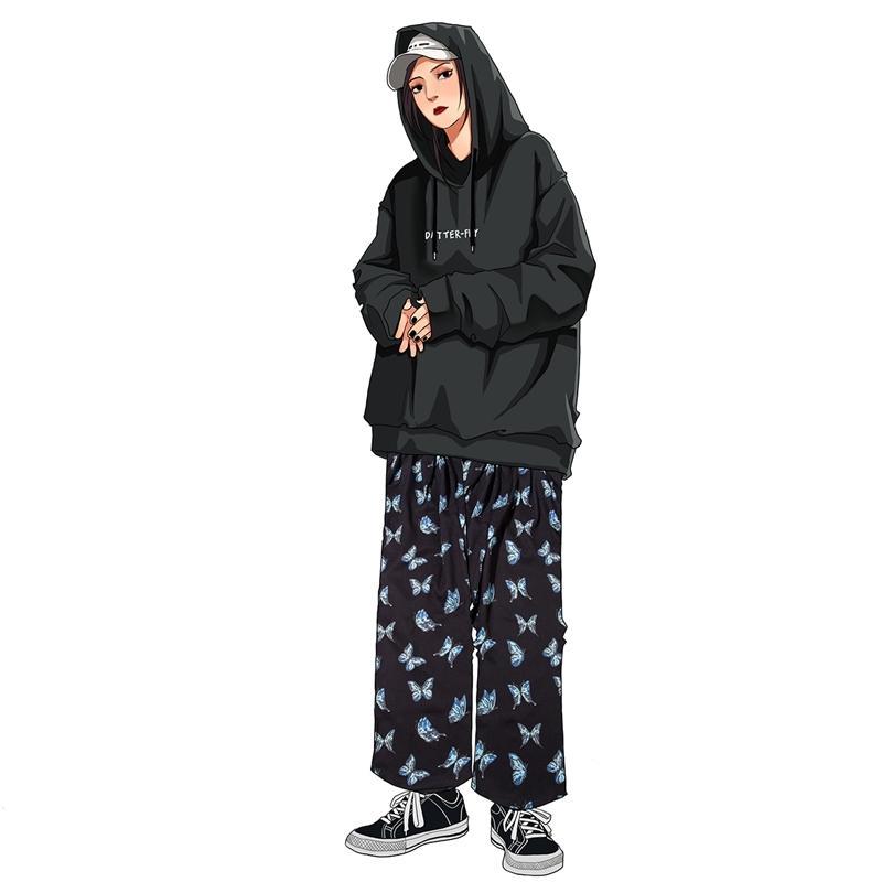 Хип-хоп Streetwear Baggy Брюки Мужчины Осень Медведь Бабочка Печать Стриганты Harajuku Jogger Мужские Брюки Хлопок 201130
