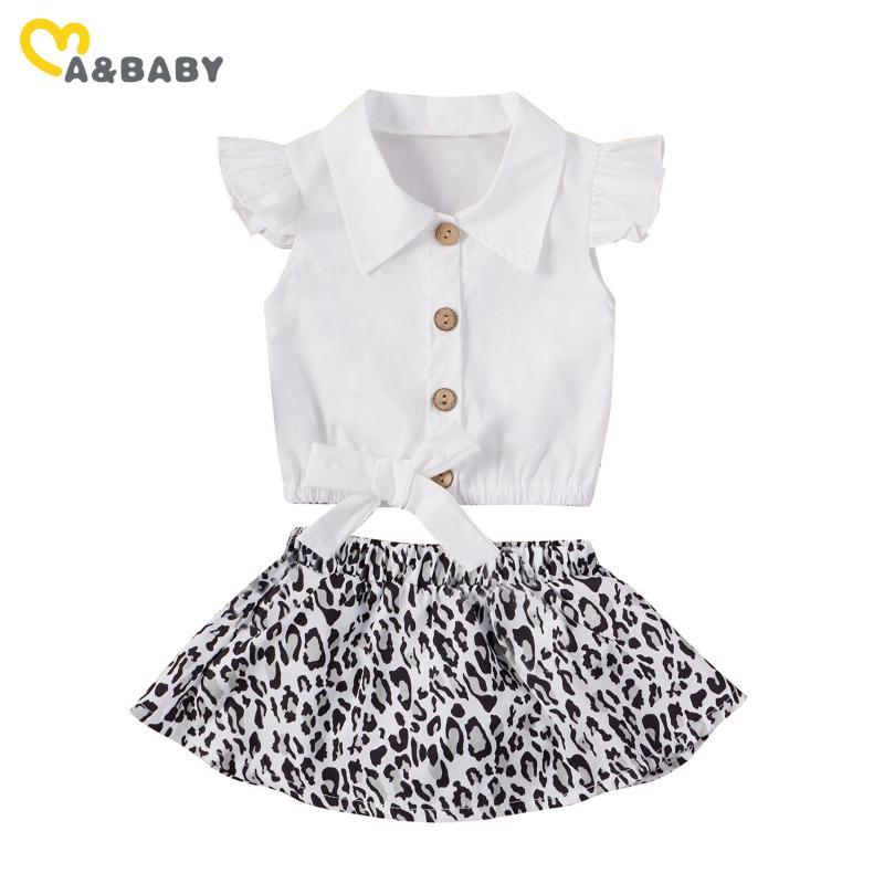 Clothing Sets Ma&Baby 6M-3Y Summer Infant Born Toddler Baby Girl Clothes Set White Ruffles Bow Shirts Leopard Skirts Outfits