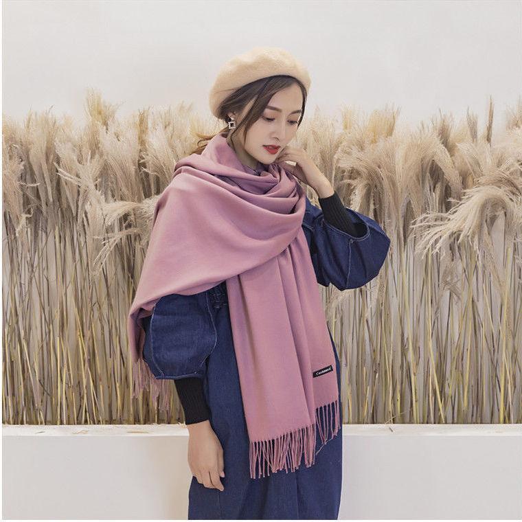 Outono / inverno 2020 novos lenços moda feminina versátil cor imitação cashmere calço quente scarf
