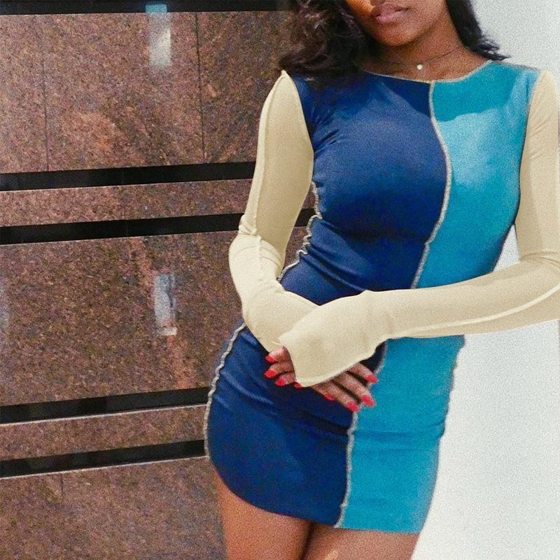 2020 Automne nouvelle mode patchwork longue manches longues robe de soirée de molletage occasionnel vintage mini robe de discothèque hipster