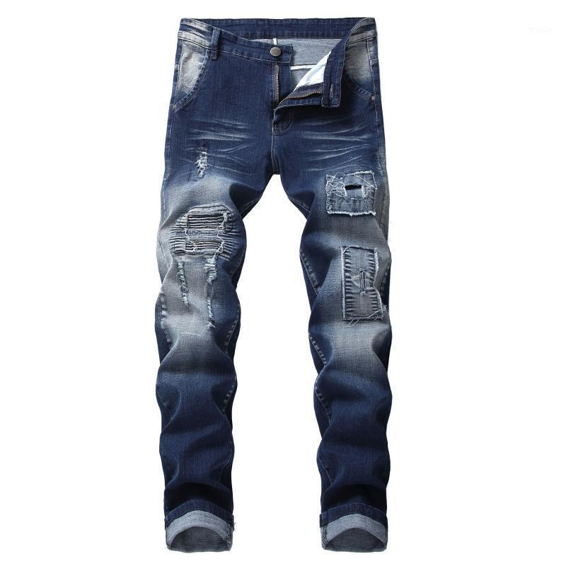 Spezielle Männer Jeans Hole Patch Pants Junge Männer Freizeitlokomotive Jeans männlich1